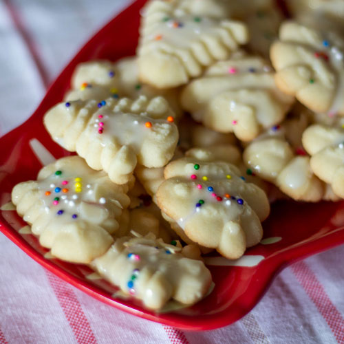 Frosted Spritz Butter Cookie Recipe